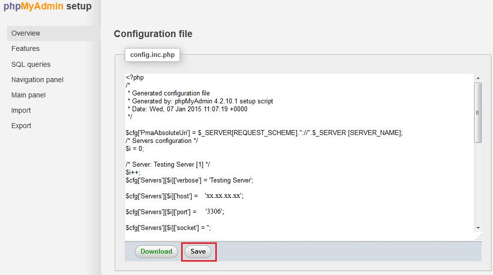 phpmyadmin-save-server-config